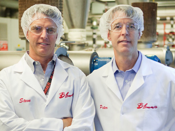 Brothers Stephen and Peter Blommer, right, both executives at Blommer Chocolate Co., now being run by the third generation of Blommers.
