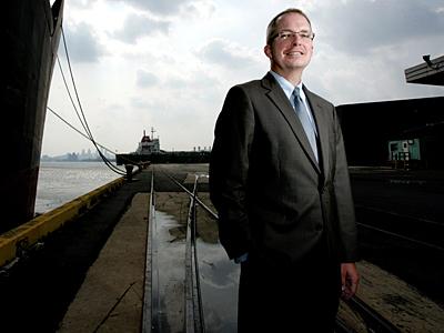 DRPA chairman John Estey, standing in the Tioga Marine Terminal. (David Swanson/File)