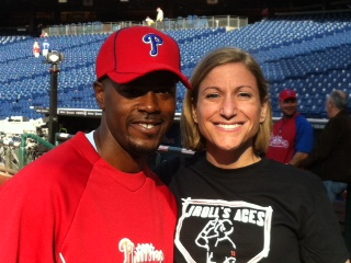 Jimmy Rollins and third grade teacher Hillary Linardopoulos