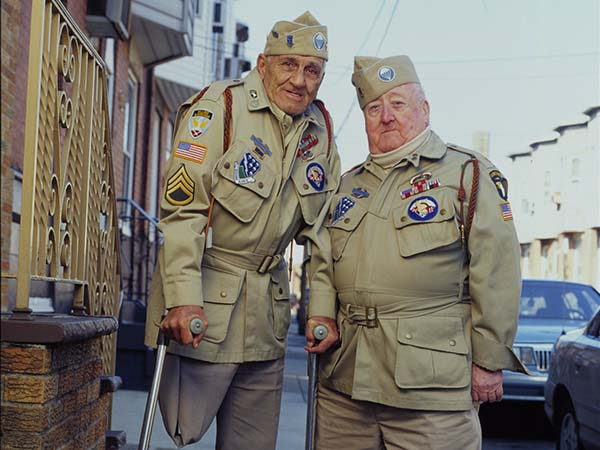 "World War II veterans Bill Guamere (left) and ""Babe"" Heffron."