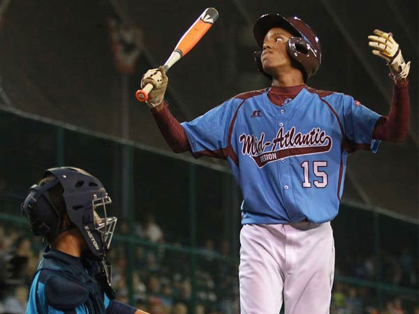 Taney´s Kai Cummings reacts to a called third strike in the sixth inning. Starting pitcher Mo´ne Davis struck out six batters but allowed three runs as Las Vegas rolled to an 8-1 victory. (MICHAEL BRYANT / Staff)