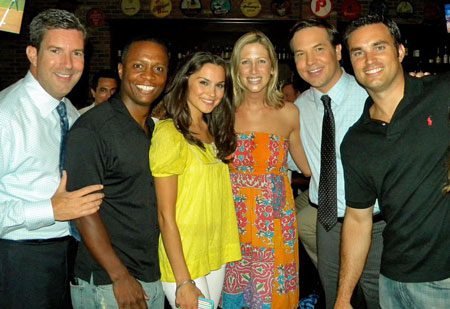 Doug Kammerer (right) with CBS3 colleagues (from left) Bob Kelly, Dave Huddleston, Nicole Brewer, Liz Keptner, and Chris May. (Photo: CARRIE HOWARD KELLY)