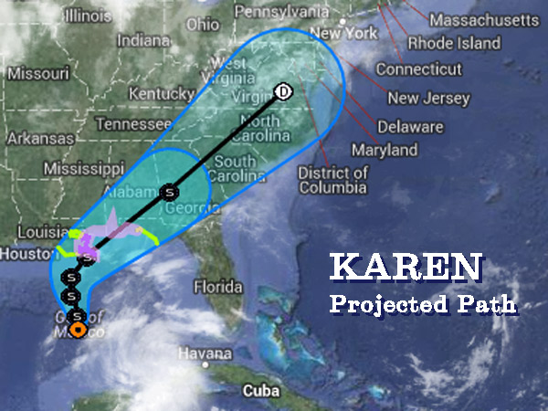 Remnants of tropical storm Karen could add to rain expected in the Philadelphia area on Monday, Oct. 7, and Tuesday, Oct. 8. (National Weather Service map)