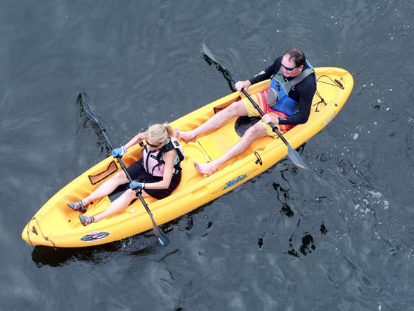 Phil Arnheiter, 59, and his wife of 30 years Robin, 57 from Little Silver, N.J. kayak the Delaware near Upper Black Eddy in Bucks County Tuesday June 24, 2014. ( DAVID SWANSON / Staff Photographer )