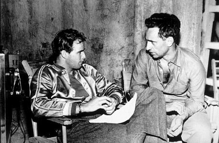 "Marlon Brando and Elia Kazan on the set on ""On the Waterfront"""