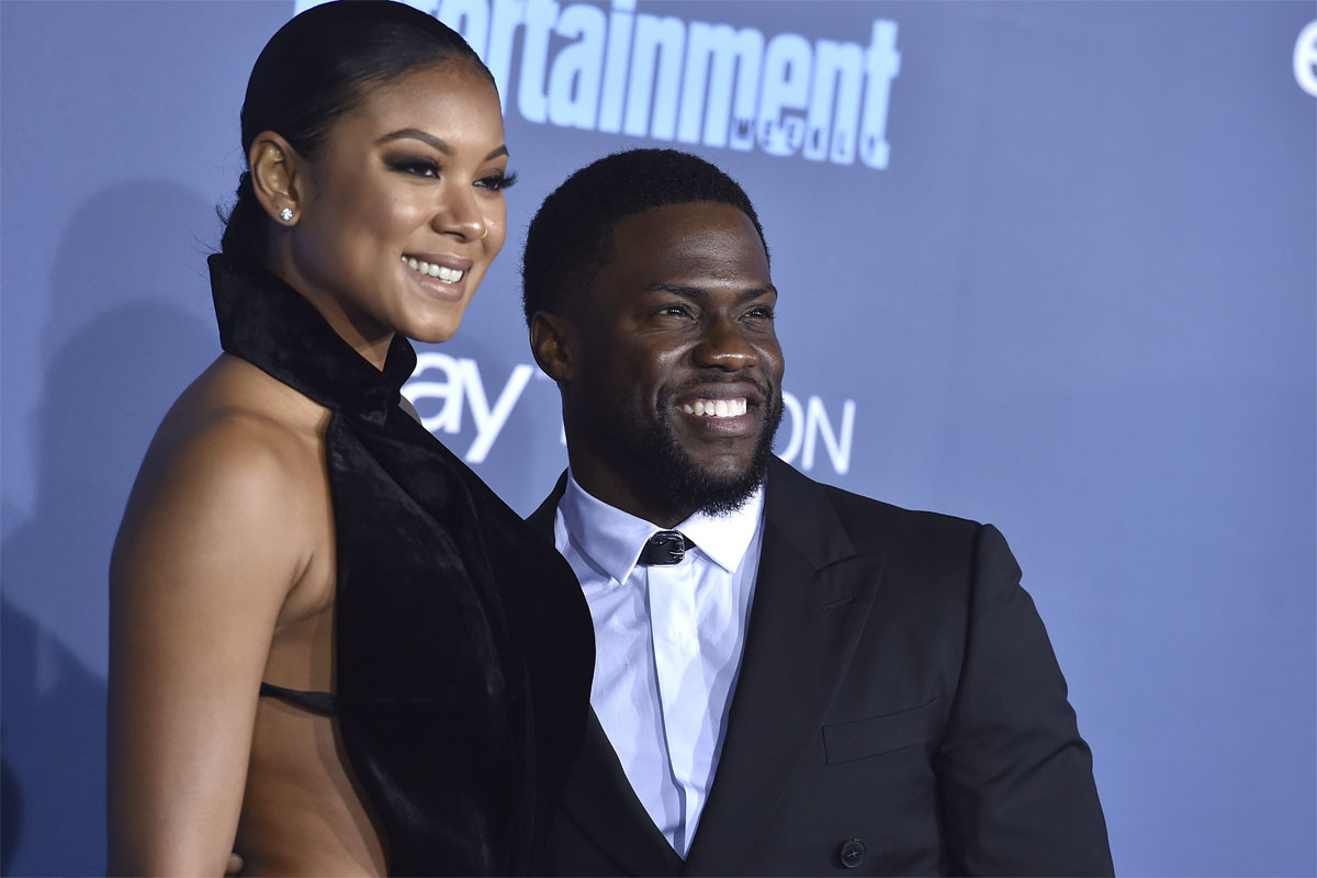 Kevin Hart, with his wife, model Eniko Parrish. Hart and Parrish announced on May 14, 2017, that they are expecting their first child together.