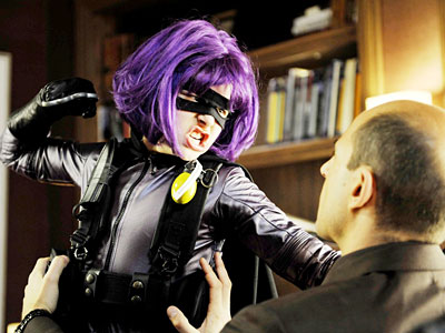 Chloe Moretz gives a performance of prodigious cool as Mindy Macready, also known as Hit Girl, in the dweeb-to-superhero movie.