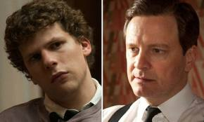 Jesse Eisenberg as Mark Zuckerberg in The Social Network (left); Colin Firth as King George VI in The King´s Speech (left)