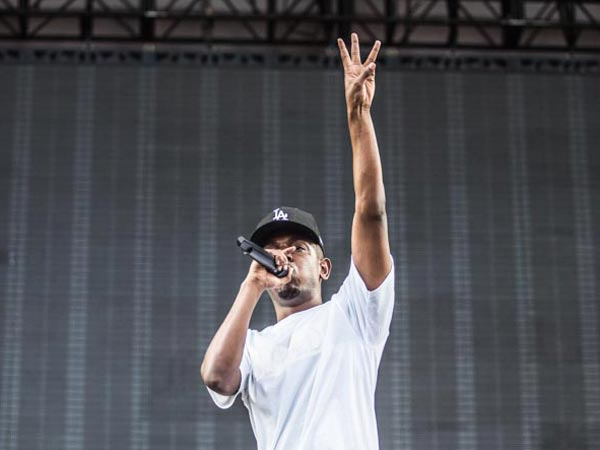 Kendrick Lamar performing at the Made in America Festival. (Colin Kerrigan / Philly.com)