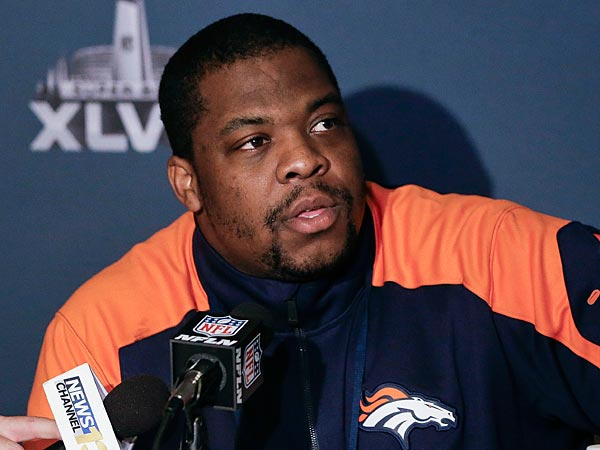 Denver Broncos defensive tackle Terrance Knighton talks with reporters. (Mark Humphrey/AP)