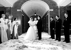 Blair Kahora and Matt Cardinal´s snow-capped wedding in Head House Square.