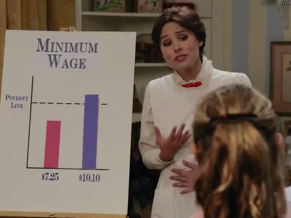 "Kristen Bell took a swing at the minimum wage debate in a parody of  Mary Poppins on ""Funny or Die."""