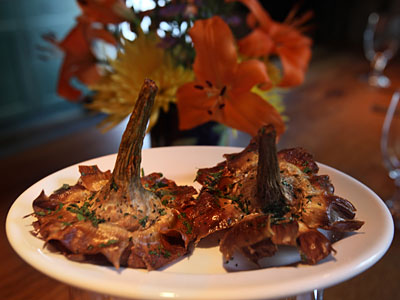 Fried long-stemmed artichokes, with an irresistible nutty savor. (DAVID M WARREN / Staff Photographer)