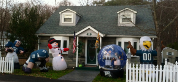 Eagles display dominates tiny front yard of a house in Hainesport. (Photo by Jan Hefler/Inquirer Staff