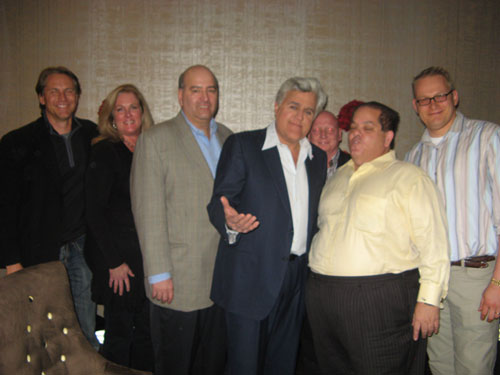 "Jay Leno with Tom Mazza (in yellow) and other audience members at ""The Tonight Show"""