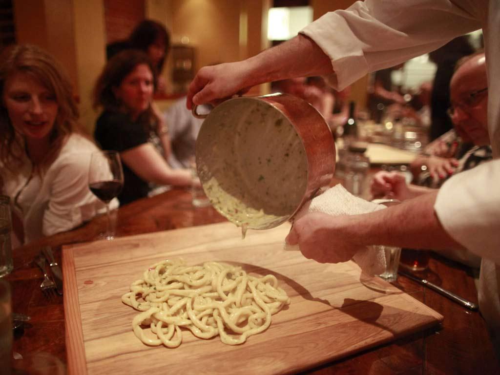 Le Virtu chef Joe Cicala prepares maccheroni alla mugnaia. ( DAVID SWANSON / Staff Photographer )
