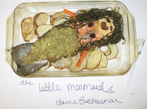 """The Little Mermaid"" by Claire Buchanan was made of fish, guacamole, seaweed, figs, and mashed potatoes, and was served with scalloped potatoes."