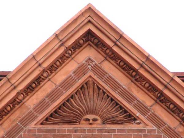 Detail of the Lippincott House at Broad and Lombard Streets. <br />