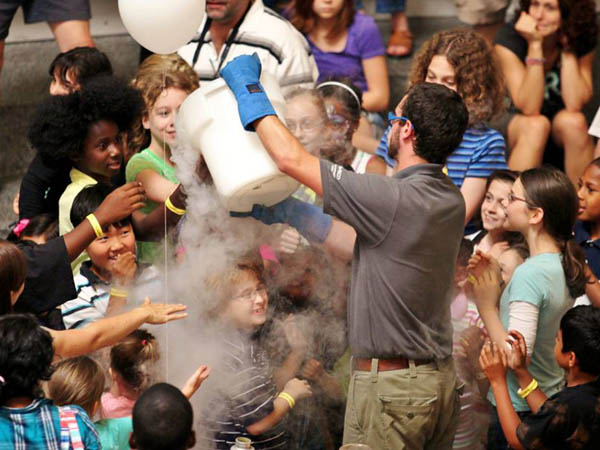 Representatives from the Franklin Institute will be at Sister Cities Park for a liquid nitrogen demonstration today. (Photo via Facebook)