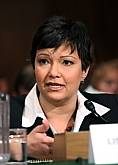 Lisa Jackson testifies Jan. 14 in Washington before the Senate Environment and Public Works Committee hearing on her nomination.<br />(AP Photo/Lauren Victoria Burke)<br />
