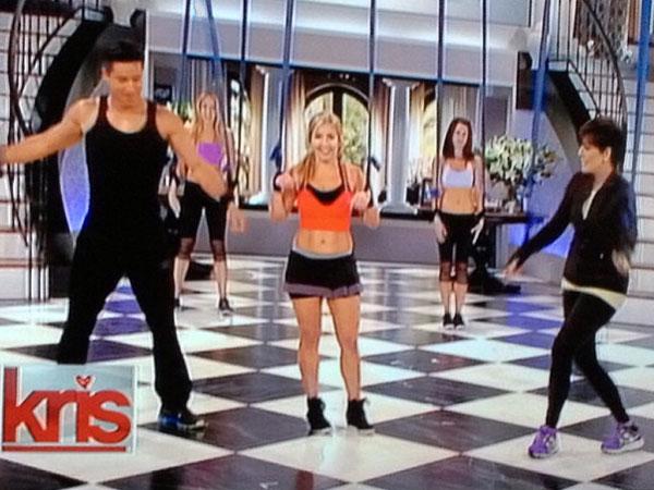 "Lauren Boggi, center, works out with Mario Lopez, left, and Kris Jenner, right, on Fox´s ""Kris Jenner Show."" (Lithe Method / Instagram)"