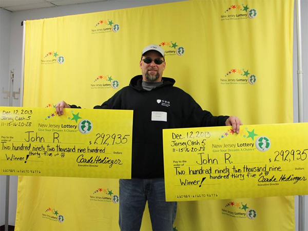 "Jersey man wins twice: John Roland of Garfield, Bergen County, had two tickets that hit the Jersey Cash 5 drawing on Dec. 12, 2013. How? ""I told the clerk my numbers for the first ticket. Then I filled out another bet slip with the same numbers and three other sets of numbers."""
