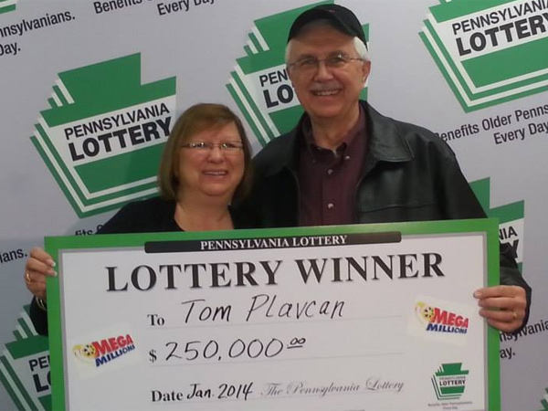 Tom Plavcan of West Grove, Chester County, won $250,000 with a quick pick for the Sept. 17, 2013, Mega Millions drawing. He bought the ticket at a Wawa in Nottingham. The win was announced Feb. 7, 2014,.