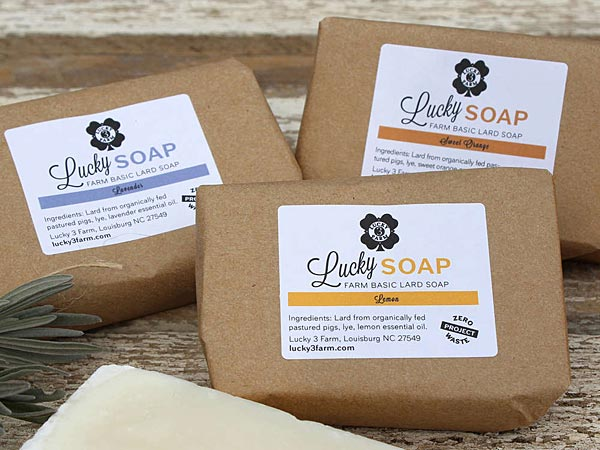 Lucky Soap is made from lard from organically fed, pastured pigs.