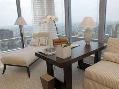 The interior of one of the building´s models at the Residences at Ritz-Carlton, with a wide view of Center City. The 43-story building is at 15th Street and South Penn Square. (April Saul / Staff Photographer)
