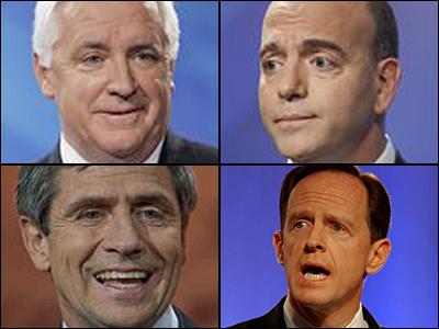 Candidates for Pa. governor: Republican Tom Corbett (top left) and Democrat Dan Onorato (top right). Candidates for U.S. Senate, Pennsylvania: Democrat Joe Sestak (bottom left) and Republican Pat Toomey.