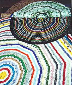 A few of the rugs crocheted from plastic bags by Margaret Giancola.