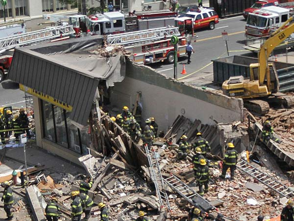 The horrific scene that was the Market Street building collapse in June 2013. (Michael Bryant/Staff/File)