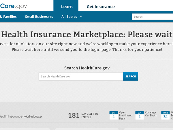 Many users trying to shop for healthcare on the first day of enrollment are coming across this message as the website is experiencing heavy traffic delays.
