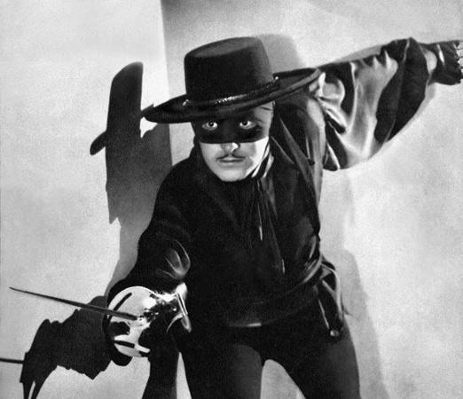 Douglas Fairbanks homages Jean Dujardin, Zorro-style.