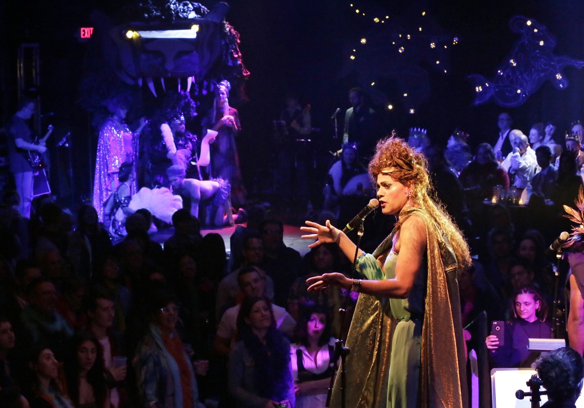 Opera star Stephanie Blythe (background left) and Martha Graham Cracker (foreground right) appear during show Friday night at TLA South Street.