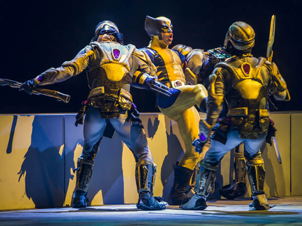 Wolverine battles two Chitauri Warriors as he fights to save Storm and Cyclops from Loki's clutches in Marvel Universe Live. (Photo via Feld Entertainment)
