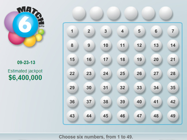 The Pennsylvania Lottery´s Match 6 game had its second biggest jackpot ever, $6.4 million, for the Sept. 23, 2013, drawing. Players pick six numbers from 1 to 49.