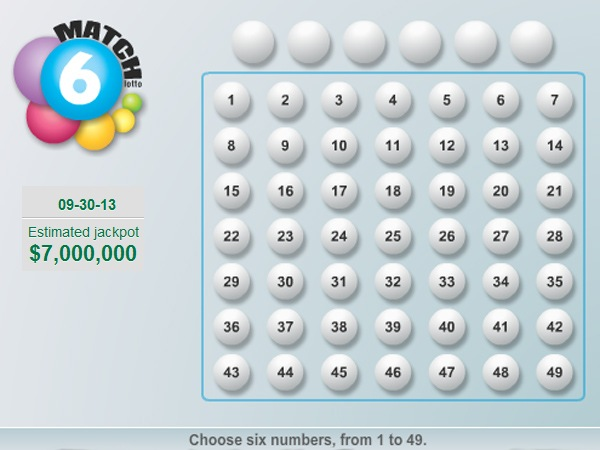 The jackpot is a record $7 million for the Sept. 30, 2013, drawing of the Pennsylvania Lottery´s Match 6 game.