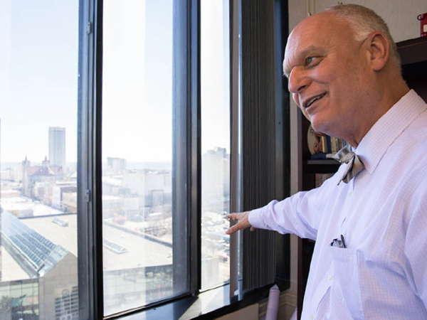 Atlantic City Mayor Don Guardian looks out over the city from his office. (Colin Kerrigan/Philly.com)