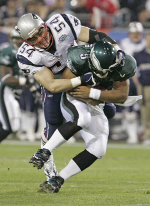 A first-quarter hit by Patriots linebacker Tedy Bruschi on Eagles quarterback Donovan McNabb. Another Bruschi hit, late in the fourth quarter, may have left McNabb gasping -- and fans getting the idea he puked.