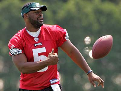 Eagles quarterback Donovan McNabb during mini camp at the Nova Care<br />Center yesterday.