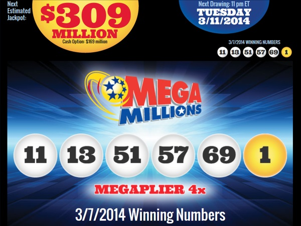 The Mega Millions drawing for March 11, 2014, has the game´s ninth biggest jackpot ever.
