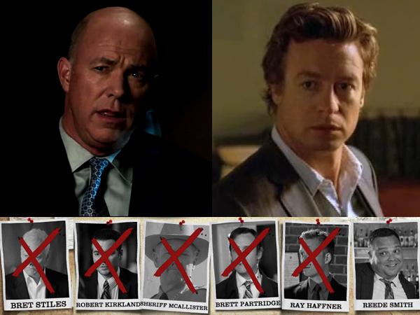 Is CBI director Gale Bertram (top left) really Red John, the serial killer long sought by Patrick Jane (right)? Jane had seven suspects to start the fall 2013 season, and after the Nov. 17 episode, all but two apparently were dead.