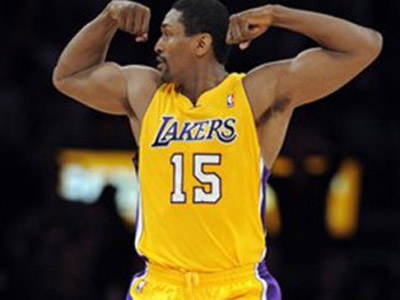 FILE - This March 25, 2011 file photo shows Los Angeles Lakers forward Ron Artest celebrating after dunking the ball during the first half of their NBA basketball game against the Los Angeles Clippers, in Los Angeles. A Los Angeles court commissioner has approved Artest´s petition to change his name to Metta World Peace. The bid by the Lakers forward for the new name had been delayed by three weeks so that he could resolve unpaid traffic tickets. With that issue out of the way, Superior Court Commissioner Matthew St. George approved the change Friday, Sept. 16, 2011, during a brief hearing. (AP Photo/Mark J. Terrill, File)