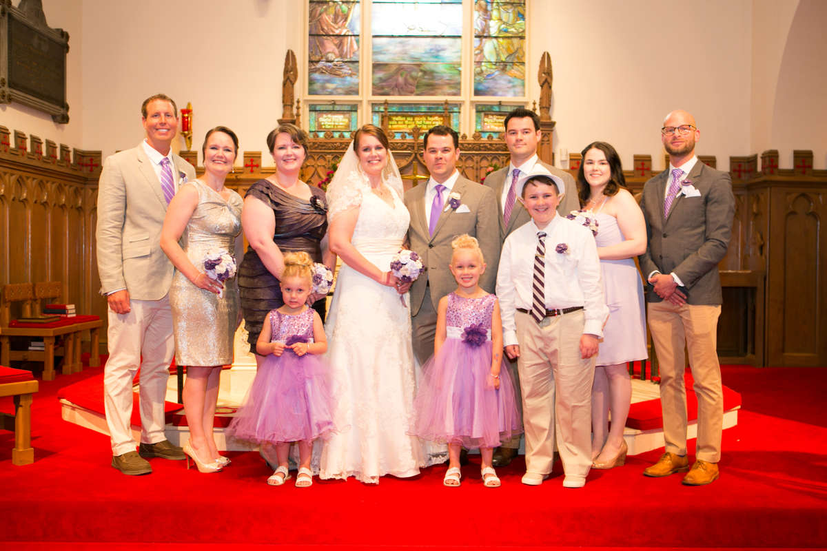 Marcella Strittmatter and Michael McCullough with bridal party, Left to Right: Tom Crossan, Sue Spangenberg, Kathy Strittmatter, Emma Spangenberg, Marcy McCullough.Mike McCullough, Lucy Spangenberg, Matt McCullough, Calvin Strittmatter-Diaz, Kristen McCullough, Rick Juliani<br />