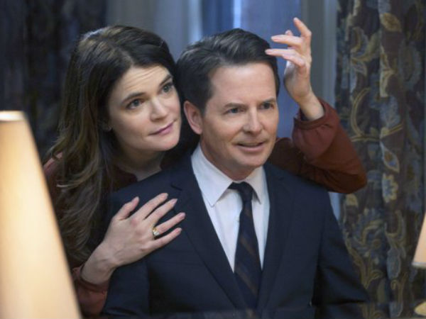 "Betsy Brandt  (left) co-stars with Michael J. Fox in ""The Michael J. Fox Show"""
