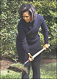 Michelle Obama breaks ground - again. (AP Photo/Ron Edmonds)