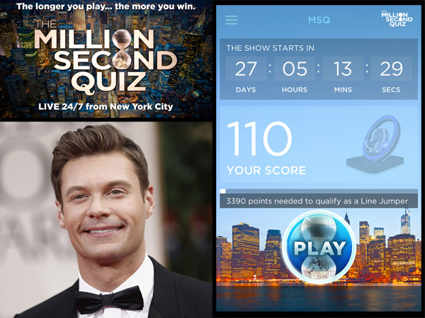 "NBC´s ""The Million Second Quiz"" will hold auditions on Sunday, Aug. 18, at McFadden´s on Third Street in Old City. Would-be contestants and anyone who wants to follow the marathon trivia tournament should download the show´s app, shown at right. Ryan Seacrest will host the prime-time telecasts."