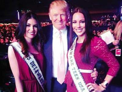 Here, former Miss Delaware Teen Melissa King (right) poses with Donald Trump.