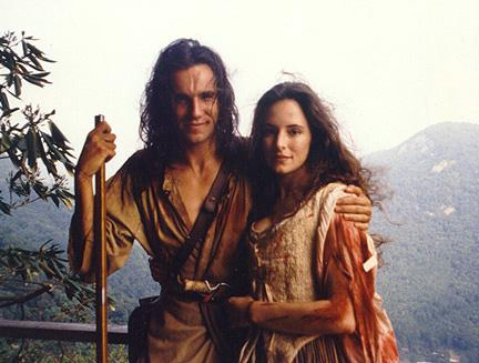 "Daniel Day Lewis and Madeleine Stowe as Hawkeye and Cora in ""Last of the Mohicans,"" a near-perfect movie with a tiny problem: Because the stars have the same coif, in closeups when their faces are obscured it´s hard to tell who´s who."